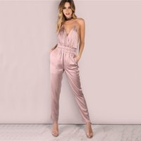 0e280911d7 Colrovie Dusty Pink Satin Slip Jumpsuit Sexy Cross Low Back Women Summer  Jumpsuits New Ruffle Strap Casual Elegant Jumpsuit
