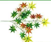 сады кленовых листьев оптовых-Моделирование клен филиал моделирование красный кленовый лист сад пейзаж поддельные красный клен отель украшения 12 шт.