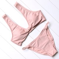 30a037f11c Wholesale thong bathing suits resale online - New Solid Bikini Top Knot  Front Low Waist Swimsuit
