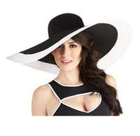 chapeaux de golf à larges bords achat en gros de-Chapeau de bande noir blanc anti-UV été Sun Life Fedora Hat Wide Brim chapeaux de plage de vacances pour les femmes dames