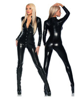 siyah cosplay catsuit toptan satış-GLAMCARE Kostümleri Cosplay Fetiş Wetlook Catsuit Tulum Seksi Punk Bodysuit Gece Kulübü Fetiş Siyah Giymek