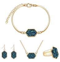 серые свадебные наборы оптовых-Мода Druzy Drusy Ювелирные наборы Популярные браслеты из бисера из бирюзового бирюзового браслета с бриллиантами для женщин Lady Jewelry