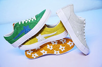 Wholesale Fabric Sunflowers - TTC The Creator x One Star Golf Le Fleur Wang Green Yellow Beige Sunflower Casual Warlking Running Skate Shoes Sneakers (2 Laces,Dust Bag)