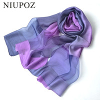 Wholesale Solid Color Long Silk Scarves - 2017 New Design Luxury Brand Women Foulard Gradient color dip dye Silk Purple Solid Scarf Elegant Shawl Long Wrap Sunscreen M257