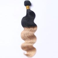 güzellik kraliçeleri saç uzantıları toptan satış-Toptan fiyat İki ton renk vücut dalga Brezilyalı İnsan saç uzatma remy saç atkı boyalı olabilir