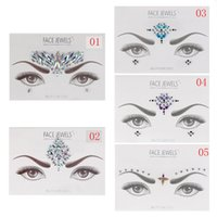 Etiquetas Engomadas De La Joya Baratos-Al por mayor-1PC Face Jewels Crystal Ojos Temporales Tatuajes Transferencia de sombra de ojos Eyeliner Face Stickers Body Eye Accessories 10 Estilos
