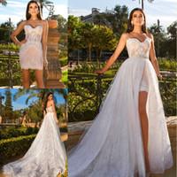 Wholesale Beaded Detachable Wedding Skirt - 2018 New Sexy Short Wedding Dresses with Detachable Skirt High Split Beaded Waist Lace Beach Bridal Gowns Vestidos De Noiva