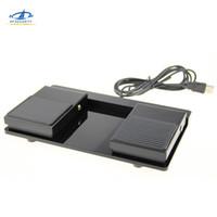 plastik klavyeler toptan satış-HFSECURITY USB Çift Ayak Anahtarı Pedalı Kontrol Klavye Fare Plastik Kaymaz Metal Anlık Elektrik Ayak Pedalı Anahtarı