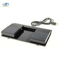 teclados plásticos venda por atacado-HFSECURITY USB Interruptor de Pedal Duplo Controle de Pedal Teclado Mouse de Plástico Antiderrapante de Metal Interruptor de Pedal de Potência Elétrica Momentary