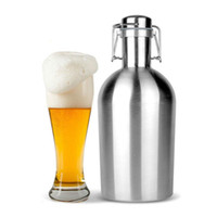 Wholesale stainless steel whisky flask - Portable Hip Flasks 32oz Growler Stainless Steel Beer Bottle Whisky Alcohol Wine Hip Flask Single Wall Drinking Party Flagon
