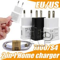 kits de viagem usb venda por atacado-Carregadores de parede de Viagem Para Casa Adpater Micro USB Kits 2 em 1 EUA Plug UE + Carregador de Cabo USB Para Galaxy S4 OPP pacote