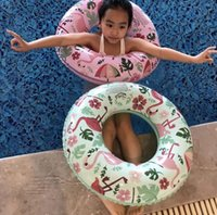 flotadores inflables para niños al por mayor-2 Colores Inflables Flamingo Swim Ring Pool Float inflable niños Natación Circle kids Swim Ring Float Pool EEA271