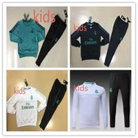 Wholesale Kids Green Pants Boys - kids Real Madrid survetement football KIDS GREEN tracksuits 2018 Ronaldo Long pants wear YOUTH training suit jacket kit CHANDAL SET