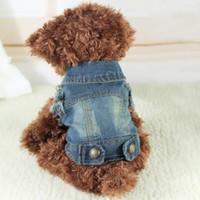 yorkie kleidung großhandel-Cooler Cowboy-Haustier-Hundekatzen-Denim-Weste-Hund kleidet Sommer Chihuahua- Yorkiepudel-Teddy-Dackel-Schlittenhund