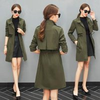 trench coat overcoat Canada - Trench Coat for Women 2018 Casual Slim Sashes Zipper Coat Women Cotton Army Green Overcoat Manteau Femme Y1891801
