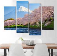 ingrosso tessuto di arte famosa-Decorazione della casa moderna Decorazione della parete Pittura Tela di canapa Hd Stampa poster di stoffa Cherry river mount Fuji Giappone luogo famoso