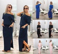 Wholesale blue maxi dress long sleeve - Women Boho Maxi Dress Sexy Summer Short Sleeve Side Slit Loose Evening Party Long Beach Dress with Pocket 4 Colors LJJO4423