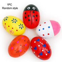 Wholesale Kids Percussion Instrument - Wholesales Sand Eggs Shaker Percussion Wooden Musical Instruments Toys For Children kids Random color