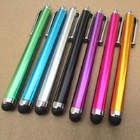 алюминиевая ручка оптовых-20pcs/lot Aluminum Metal Stylus Touch Screen Pen for Mobile Phone Tablet touchscreen pen Stationery Novelty Pens Papelaria