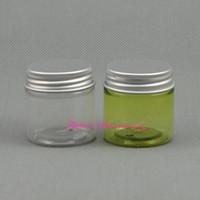 pots crème vert achat en gros de-100 pcs / lot En Gros 30g PET Pot avec Couvercle Tout Clair / vert pour Cosmétiques et Stockage Alimentaire Bouteille en Plastique Échantillon Conteneur VERT Crème Pot