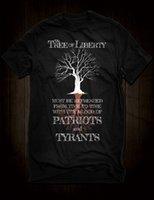 ingrosso maglia nera dei patrioti-Maglietta New Jersey nera dell'albero della libertà Thomas Jefferson Tyrants Patriots Blood Quote Maglietta personalizzata Jersey