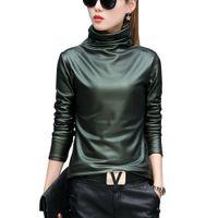 camisa de cuello alto de terciopelo al por mayor-Punk europeo más el tamaño de la blusa de las mujeres otoño cuello alto de manga larga tops camisa de las señoras terciopelo de estiramiento de las camisas de cuero de LA PU blusas