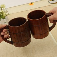 Wholesale Beer Promotion - Big Promotion !Eco -Friendly 400ml Classical Wooden Beer Tea Coffee Cup Mug Water Bottle Heatproof Home Office Party Drinkware