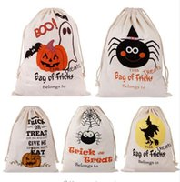 Wholesale football candy - Halloween Pumpkin Canvas Candy Bags 36*44cm 9 Styles Drawstring Gift Bag Canvas Santa Sack Stuff Sacks Outdoor Bags 300pcs OOA5375