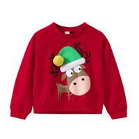 ingrosso caldo per i ragazzi-Toddler Kids Neonate Boys Christmas Hats Elk Print Pullover Felpa Top Fashion manica lunga girocollo top caldo