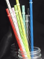 Wholesale disposable plastic spoons - 100 Pcs  Lot 23 Cm Length 7mm Diameter Reusable Transparent Stripped Plastic Drinking Straws  Metal Color Straws For Marson Jar