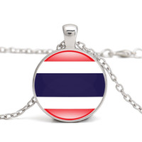 ingrosso ciondolo tailandia collana-Thailand Flag Pendant Necklace Southeast Asia Country National Flags Brunei Singapore Malesia I Love Hometown Men Women Jewelry all'ingrosso