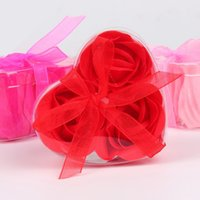 Wholesale Decorative Boxes For Gifts - Household Decorative Flowers For Mother Valentines Day Gift Bouquet Heart Shape Rose Soap Petal With Retail PVC Box 0 95mw B