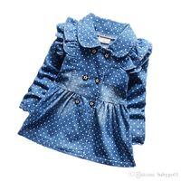 jeans bébé fille 12 mois achat en gros de-bébé fille jeans vestes à pois enfants denim robe vestes taille 6 mois à 4 ans chaqueta de mezclilla niño