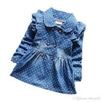 ingrosso jeans delle neonate 12 mesi-baby girl giacche di jeans pois bambini denim vestito giacche taglia 6 mesi-4 anni chaqueta de mezclilla niño