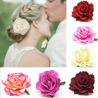 Wholesale flower hair accessories brooches for sale - Group buy Bridal Artificial Rose Flower Hair Clip And Brooch Wedding Party Accessories