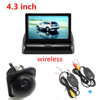 Wholesale Rear Vision Systems - 3 in 1 Wireless Car Parking Assistance System 4.3 Folder Car Monitor +Night Vision CCD Waterproof Rear View Camera+Wireless Kit CMO_525