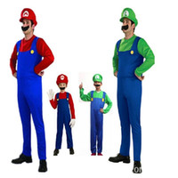 Wholesale cosplay costume mario online – ideas Super Marie Mario Louis Cosplay Costume Clothing Adult Perform Fancy Clothes Romper Hat Beard Party Supplies Bardian st10 bb