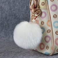 tavşan kürk topları toptan satış-Güzel 8 CM Tavşan kürk topu peluş anahtarlık yuvarlak top kabarık oyuncak anahtarlık tüylü araba anahtarlık Çanta Kolye araba anahtarlık ...
