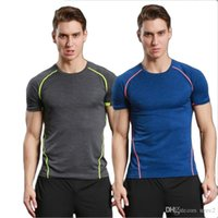 Wholesale fast knitting - 2017 tights men's sport fast dry breath jogging coach clothes, men and women in Europe and America jogging T-shirt