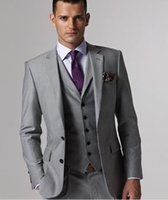 ingrosso legami migliori vestito-2018 Custom Made Light Grey Suit Formal Dress Uomo Abiti da sposa per uomo Slim Fit Smoking dello sposo per uomo Best Man Suit (Jacket + Vest + Pant + Tie)