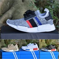 Wholesale women athletic shoes - Wholesale NMD R1 Primeknit Top Quality Running Shoes Classic Color Mesh Triple White Cream Salmon Athletics Sneakers US 5-11.5 With Box