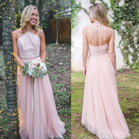 Wholesale Yellow Halter Neck Top - 2018 Newest Bridesmaid Dresses A Line Lace Top Halter Neck Backless Maid of Honor Gowns Western Country Wedding Guest Dress
