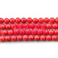 korallenstein naturals großhandel-NB0048 Trendy Naturstein Großhandel Hohe Menge Rote Koralle Lose Perlen Stein Runde Perle Beste Schmuckherstellung Zubehör