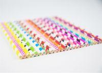 ingrosso acquazzone dei neonati-Cannucce di carta per bere colorate Biodegradabile Baby Shower Decorazione ragazzo per Candy Bar Decorazioni per feste di compleanno Bambini Decora adulti
