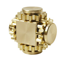 Wholesale tri spinner fidget toy online - Gear Fidget Cube Spinner Tri Spin Hand Toy Finger Games Smooth Surface Metal Brass Copper with Stable Bearing EDC Gold