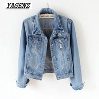 Wholesale Women Basic Coat Denim Jacket Women Slim Vintage Denim Jacket For Jeans Coat Plus size XL Casual style