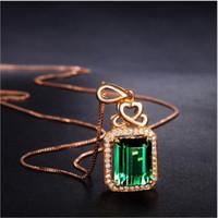 esmeralda acessórios venda por atacado-Esmeralda Pingente de Prata-banhado a Ouro 18 K Rose Gold Gemas Coloridas Turmalina Verde Colar de Moda de Cristal Colar de Acessórios Femininos