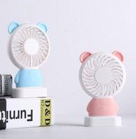 Wholesale rabbit fan for sale - Group buy Mini Portable Fan Multifunctional USB Bear rabbit Rechargerable Kids Table Fan LED Light led light Adjustable Speed for Indoor hot sale
