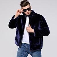 ingrosso cappotto di pelliccia di visone blu-2018 Autunno e inverno nuovi uomini Faux Fur coat visone cappotto di pelliccia marea maschio intero pelle scamosciata pelliccia colore nero / blu / marrone / grigio argento