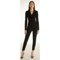 traje de smoking negro para damas al por mayor-Mujeres negro esmoquin conjunto de 2 piezas traje de negocios para mujer uniforme de oficina para mujer pantalones pantalón traje cruzado PERSONALIZADO